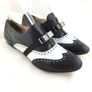 AGL wingtip flats brogue shoes black white slip on